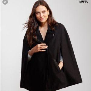 Bethany Mota cape black jacket faux leather collar